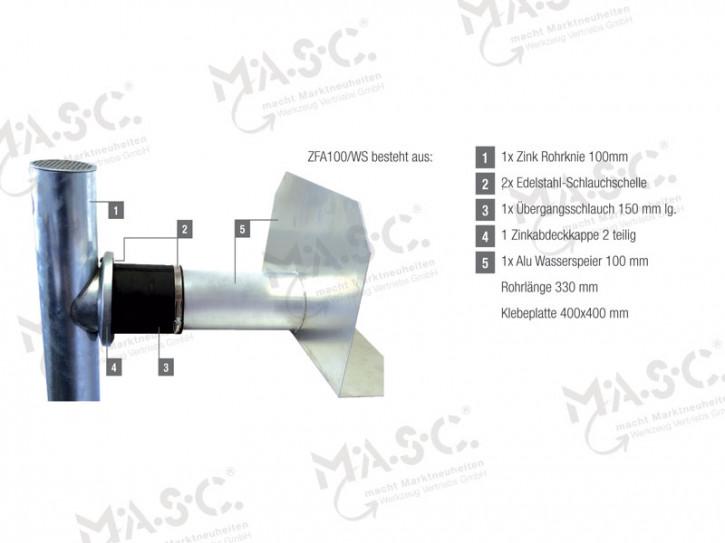 System Fassadenabzweig aus Zink 100 mm